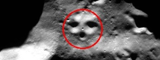 a huge face (about 6 km x 6 km) on the south pole of the moon